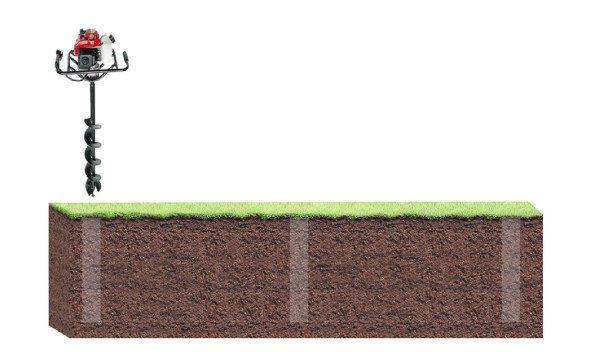 Чтобы работа по созданию лунок была быстрее, можно взять в аренду специальный бур для фундамента «ТИСЭ»