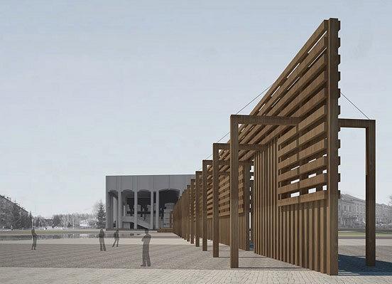 Деревянная современная ограждающая конструкция