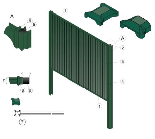 Модуль состоит из несущих деталей, креплений (кронштейнов) и профилированного листа.