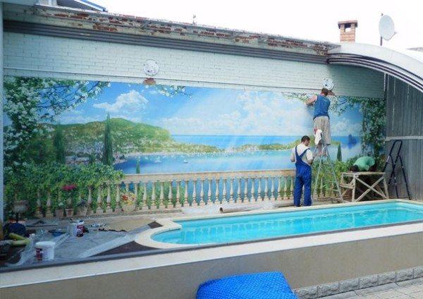 Монтаж фрески на кирпичную основу
