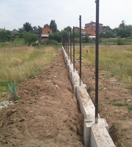 На фото готовый фундамент, со столбами колон