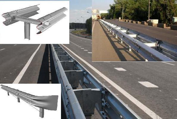 Общий вид барьерного ограждения на дороге