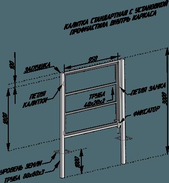 Пример чертежа стандартной калитки