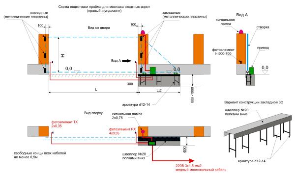 Проектный чертеж с указанием основных размеров.