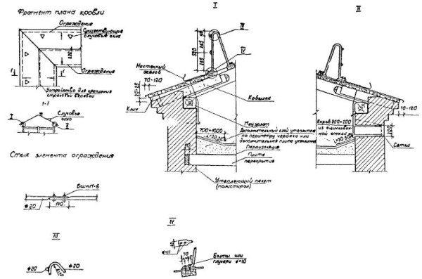 Схема монтажа защитных элементов кровле с указанием размеров