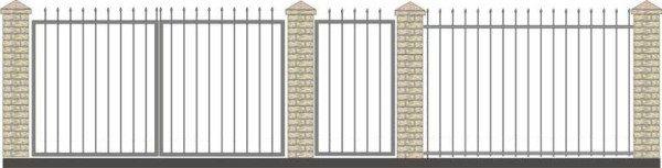 Схема ограды с кирпичными опорами