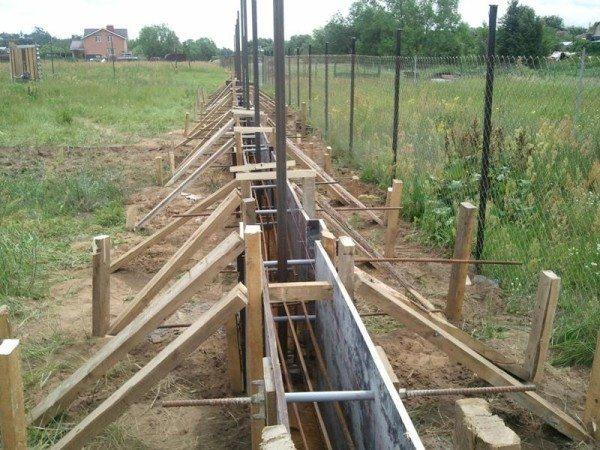 Сооружение ленточного фундамента под забор.