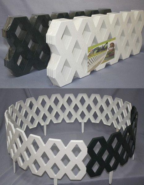 Современный пластиковый забор для клумбы