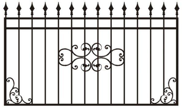 Сварной секционный забор с элементами ковки