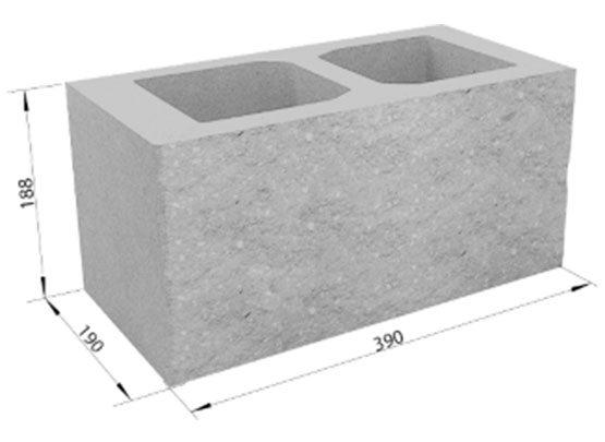 Типовой элемент кладки ограждения с указанием стандартных размеров