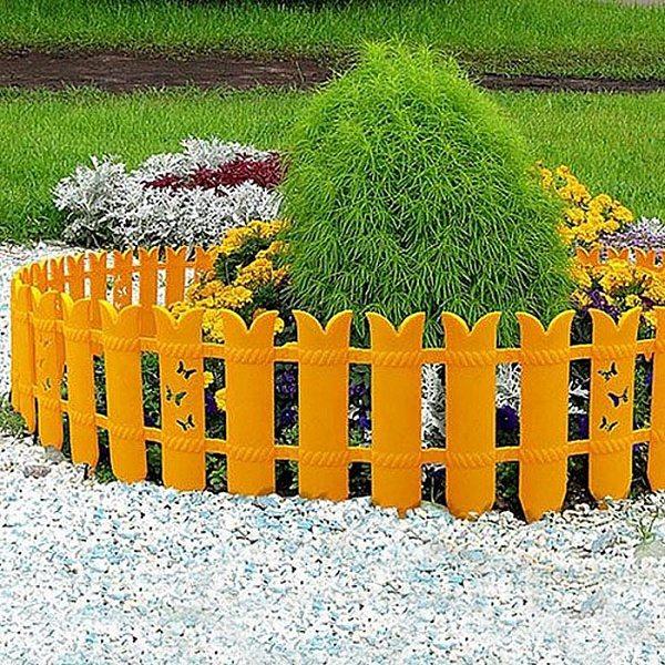 Универсален декоративный забор из пластика для клумб