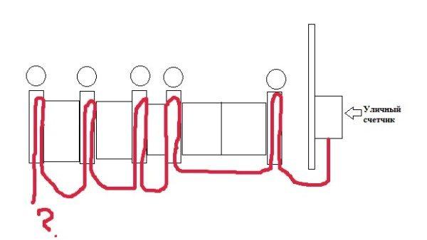 Упрощенная схема проводки  освещения кирпичного забора