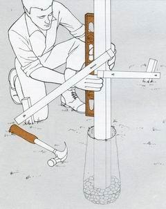 Установка столбов для ограды