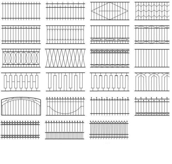 Виды металлических секционных оград