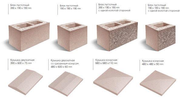 Виды сборных элементов с указанием размеров для проектирования ограждения