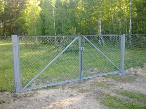 Ворота на забор из сетки Рабица