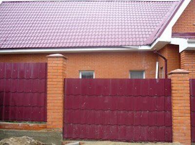 Забор из металлочерепицы