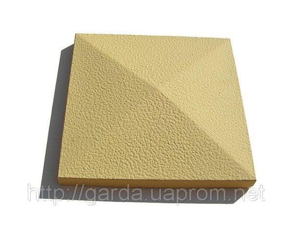Колпак заборный бетонный 390 х 390 х 55 мм с добавлением оливкового пигмента