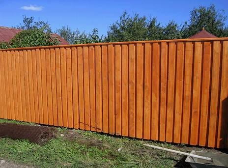 Новый забор, окрашенный специальным лаком