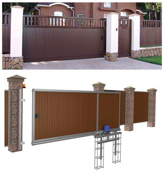 Общий вид и заглубленный анкерный фундамент откатных ворот консольного типа.