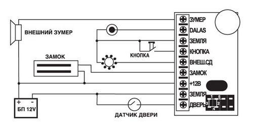 Схема подключения к контроллеру