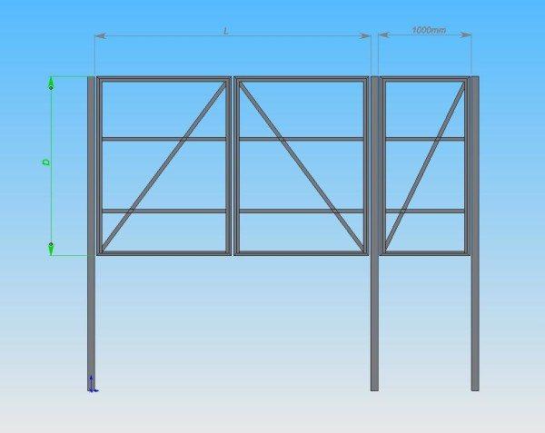 Существуют различные чертежи распашных ворот с калиткой. Мы предлагаем вашему вниманию одну из самых простых конструкций