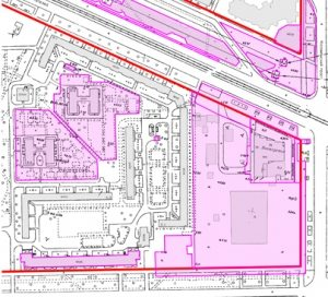 Вот на такой карте можно найти красную линию улицы