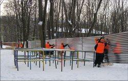 Забор по периметру строительной площадки
